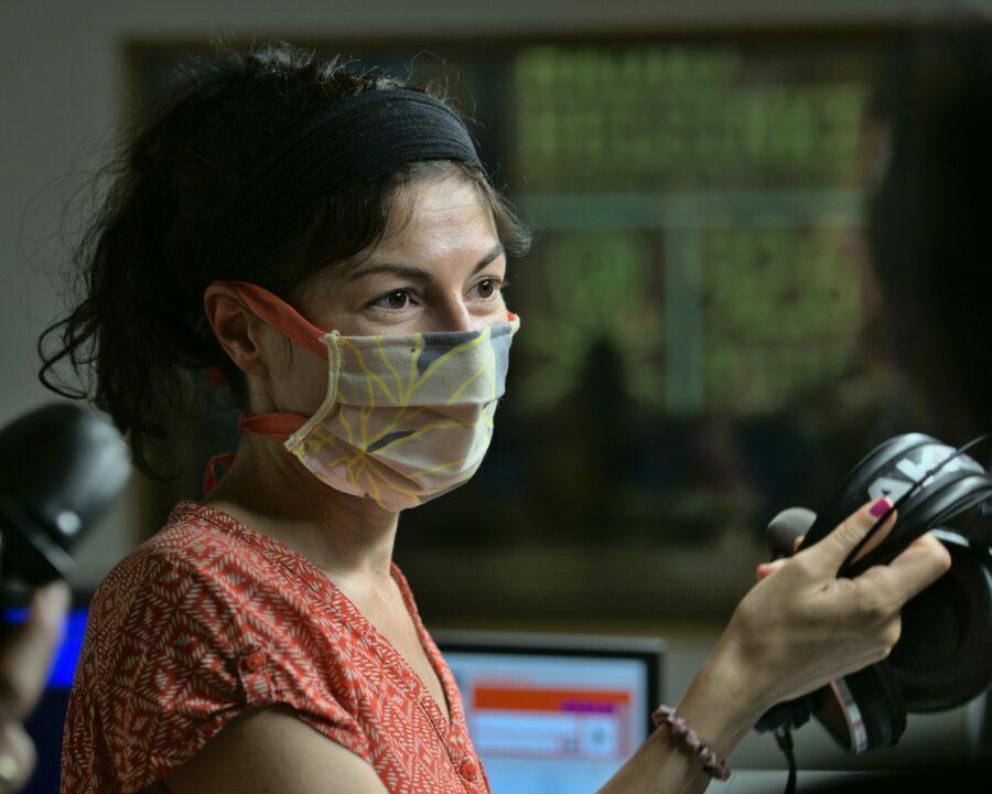 Claudia beim Basisworkshop mit Maske